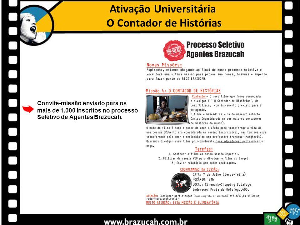 Ativação Universitária O Contador de Histórias Convite-missão enviado para os mais de 1.000 inscritos no processo Seletivo de Agentes Brazucah.
