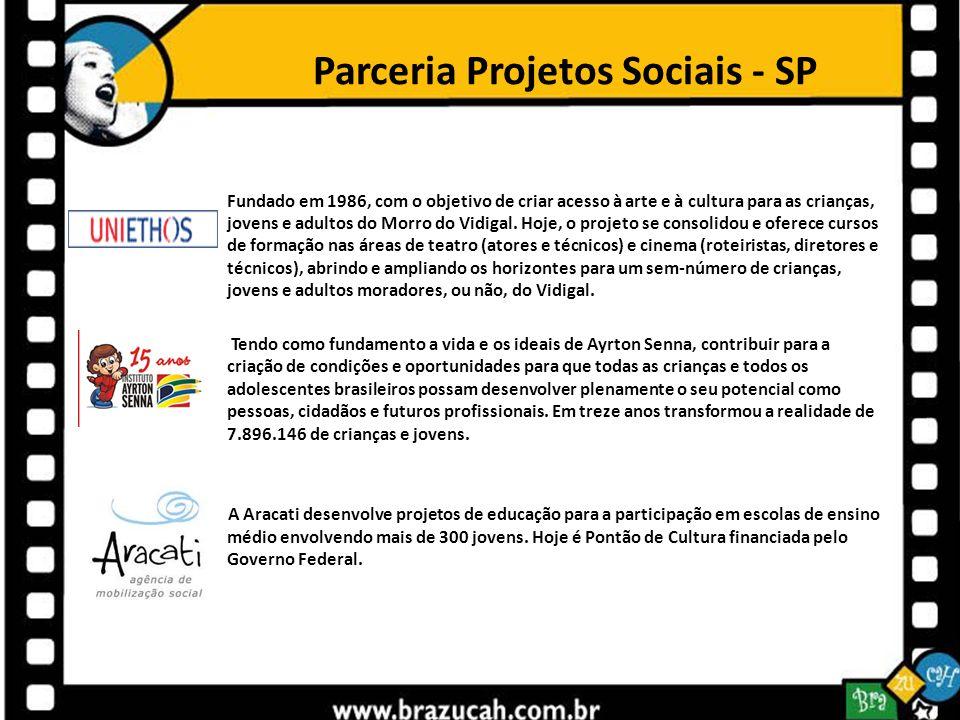 Parceria Projetos Sociais - SP Fundado em 1986, com o objetivo de criar acesso à arte e à cultura para as crianças, jovens e adultos do Morro do Vidig