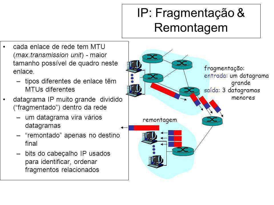IP: Fragmentação & Remontagem cada enlace de rede tem MTU (max.transmission unit) - maior tamanho possível de quadro neste enlace. –tipos diferentes d