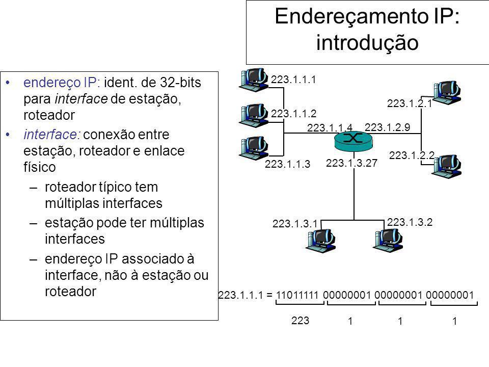 Endereçamento IP: introdução endereço IP: ident. de 32-bits para interface de estação, roteador interface: conexão entre estação, roteador e enlace fí