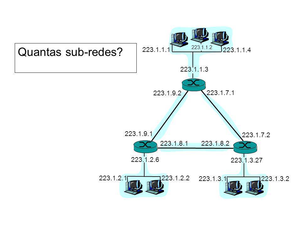 Quantas sub-redes? 223.1.1.1 223.1.1.3 223.1.1.4 223.1.2.2 223.1.2.1 223.1.2.6 223.1.3.2 223.1.3.1 223.1.3.27 223.1.1.2 223.1.7.1 223.1.7.2 223.1.8.22