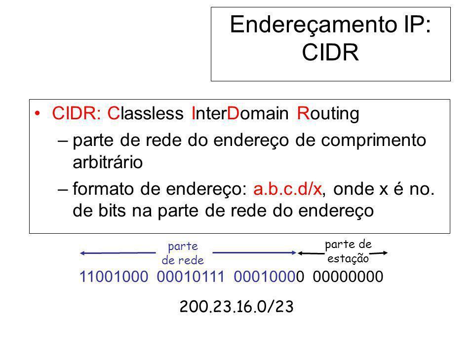 parte de estação Endereçamento IP: CIDR CIDR: Classless InterDomain Routing –parte de rede do endereço de comprimento arbitrário –formato de endereço: