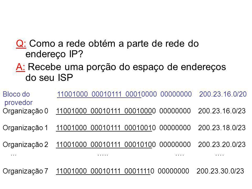 Bloco do 11001000 00010111 00010000 00000000 200.23.16.0/20 provedor Organização 0 11001000 00010111 00010000 00000000 200.23.16.0/23 Organização 1 11