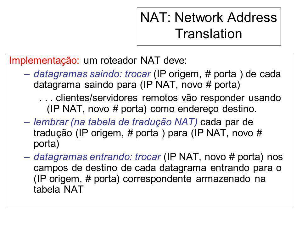 NAT: Network Address Translation Implementação: um roteador NAT deve: –datagramas saindo: trocar (IP origem, # porta ) de cada datagrama saindo para (
