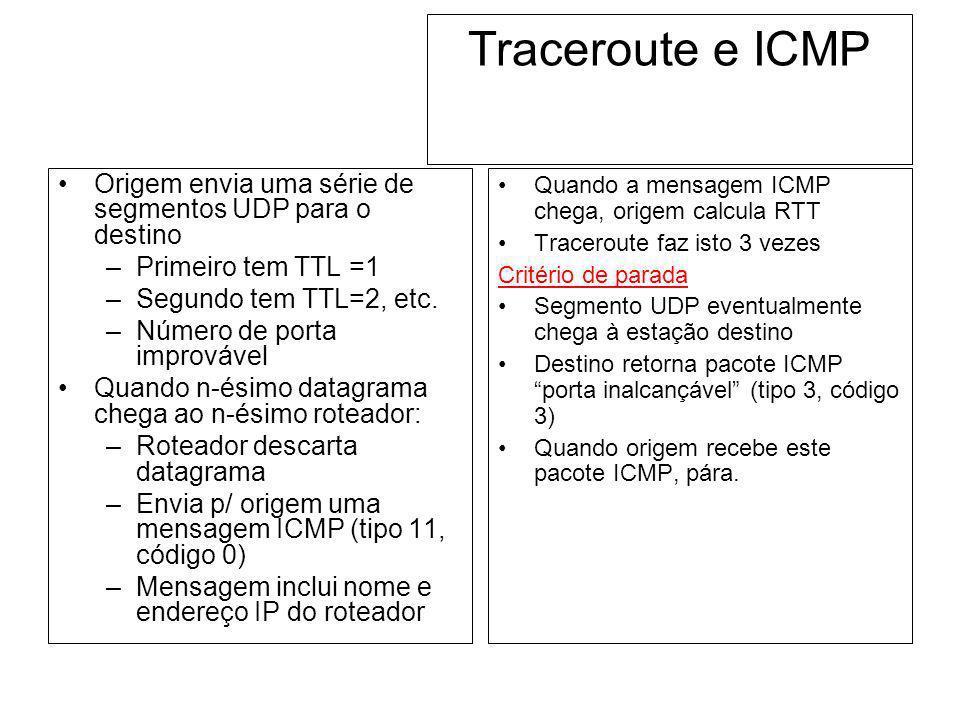 Traceroute e ICMP Origem envia uma série de segmentos UDP para o destino –Primeiro tem TTL =1 –Segundo tem TTL=2, etc. –Número de porta improvável Qua