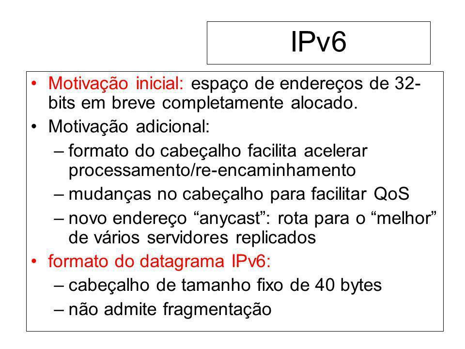 IPv6 Motivação inicial: espaço de endereços de 32- bits em breve completamente alocado. Motivação adicional: –formato do cabeçalho facilita acelerar p