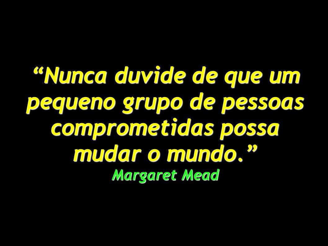 Nunca duvide de que um pequeno grupo de pessoas comprometidas possa mudar o mundo. Margaret Mead