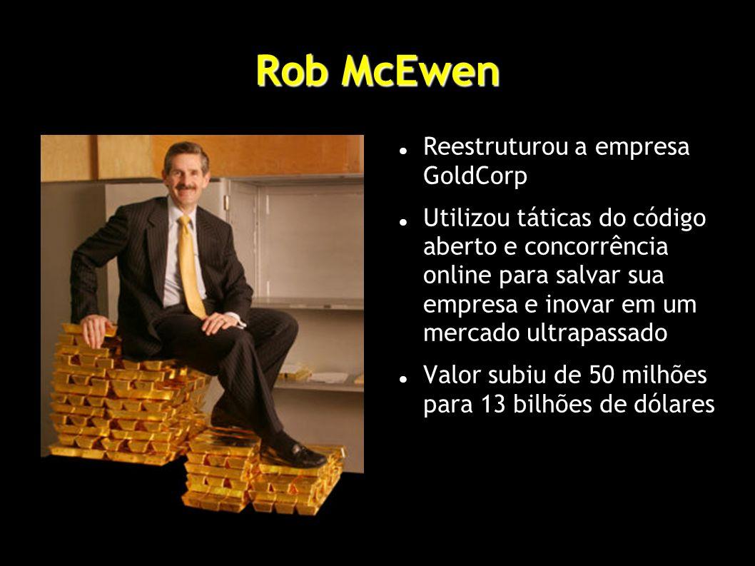 Rob McEwen Reestruturou a empresa GoldCorp Utilizou táticas do código aberto e concorrência online para salvar sua empresa e inovar em um mercado ultrapassado Valor subiu de 50 milhões para 13 bilhões de dólares