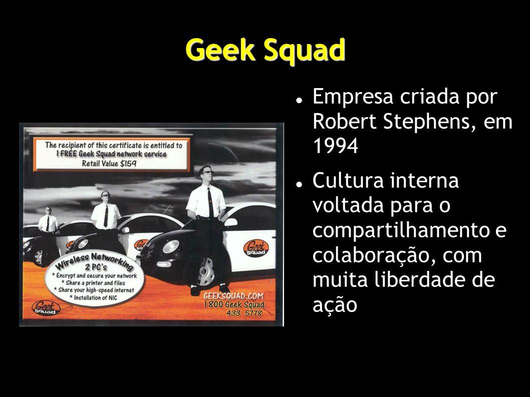Geek Squad Empresa criada por Robert Stephens, em 1994 Cultura interna voltada para o compartilhamento e colaboração, com muita liberdade de ação