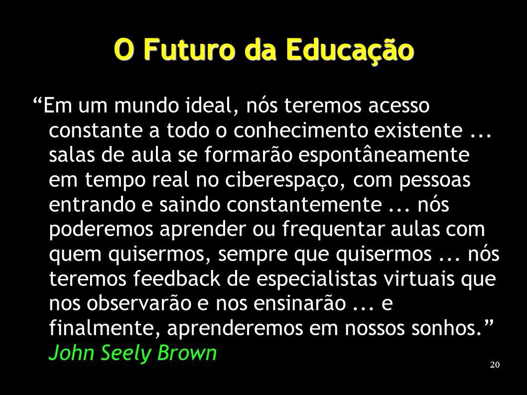 20 O Futuro da Educação Em um mundo ideal, nós teremos acesso constante a todo o conhecimento existente...