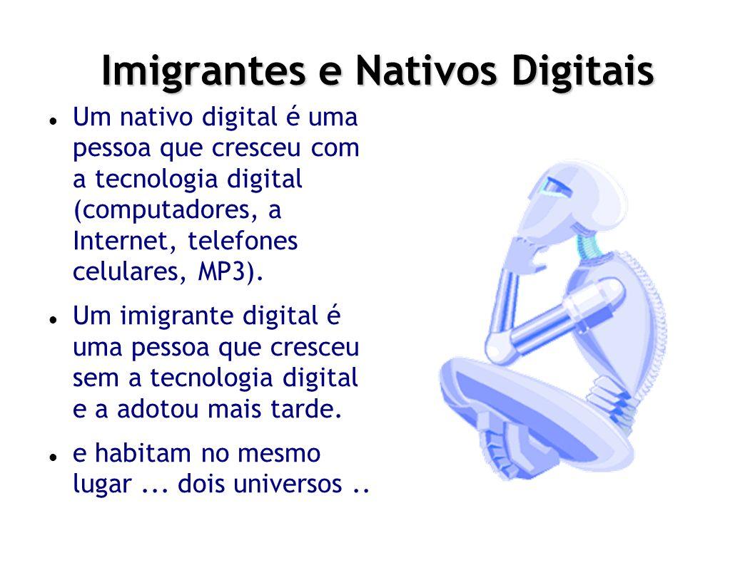 Imigrantes e Nativos Digitais Um nativo digital é uma pessoa que cresceu com a tecnologia digital (computadores, a Internet, telefones celulares, MP3).