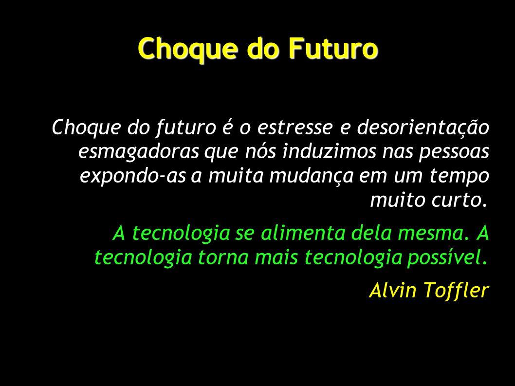 Choque do Futuro Choque do futuro é o estresse e desorientação esmagadoras que nós induzimos nas pessoas expondo-as a muita mudança em um tempo muito curto.