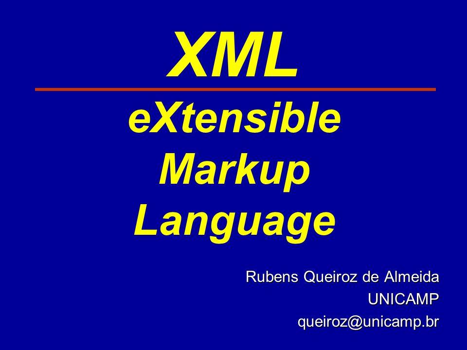 XML eXtensible Markup Language Rubens Queiroz de Almeida UNICAMPqueiroz@unicamp.br