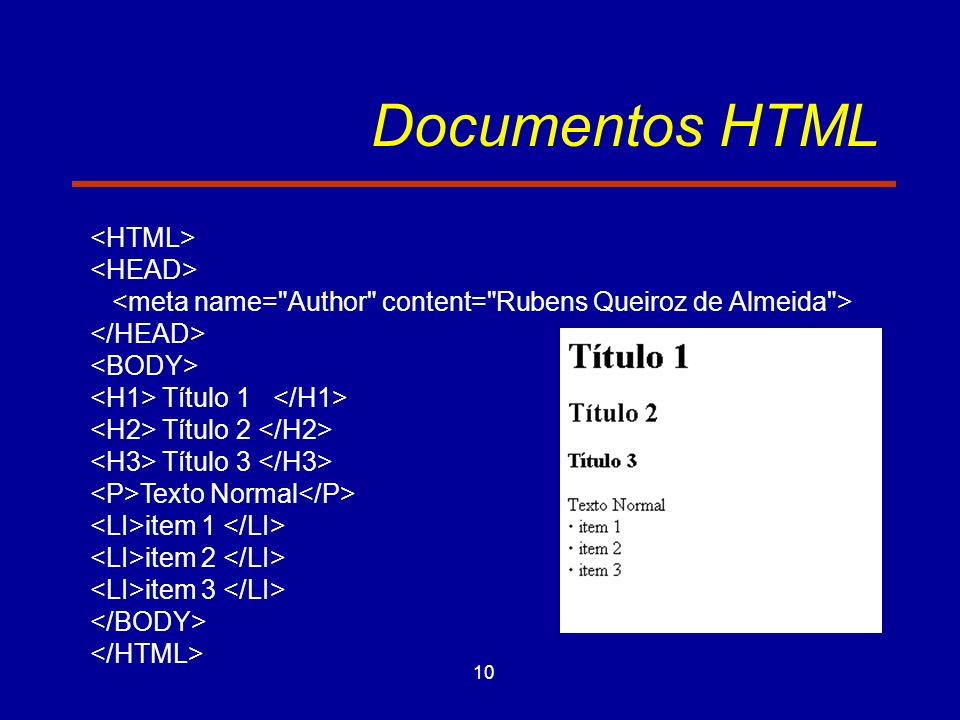 10 Documentos HTML Título 1 Título 2 Título 3 Texto Normal item 1 item 2 item 3
