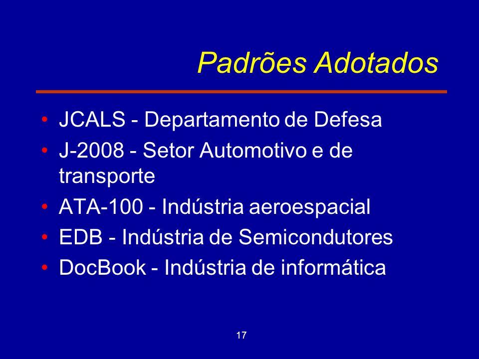 17 Padrões Adotados JCALS - Departamento de Defesa J-2008 - Setor Automotivo e de transporte ATA-100 - Indústria aeroespacial EDB - Indústria de Semicondutores DocBook - Indústria de informática