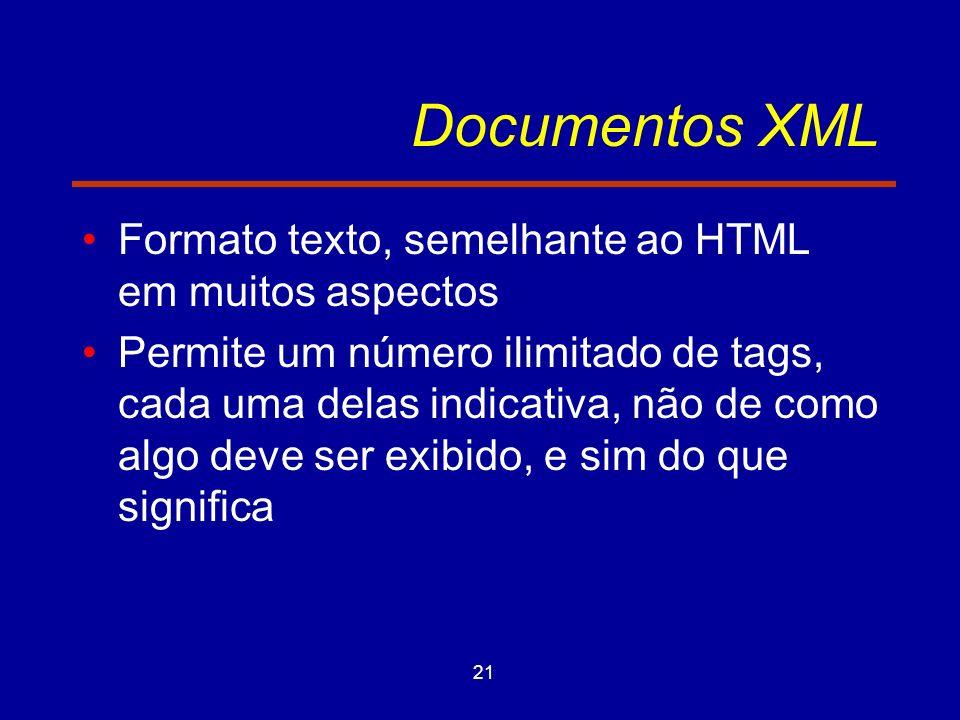 21 Documentos XML Formato texto, semelhante ao HTML em muitos aspectos Permite um número ilimitado de tags, cada uma delas indicativa, não de como algo deve ser exibido, e sim do que significa