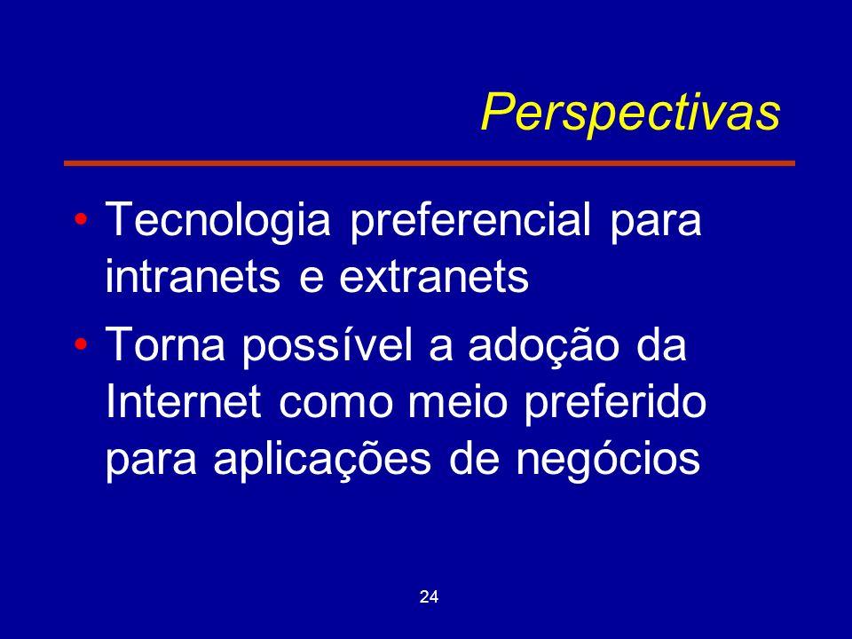 24 Perspectivas Tecnologia preferencial para intranets e extranets Torna possível a adoção da Internet como meio preferido para aplicações de negócios
