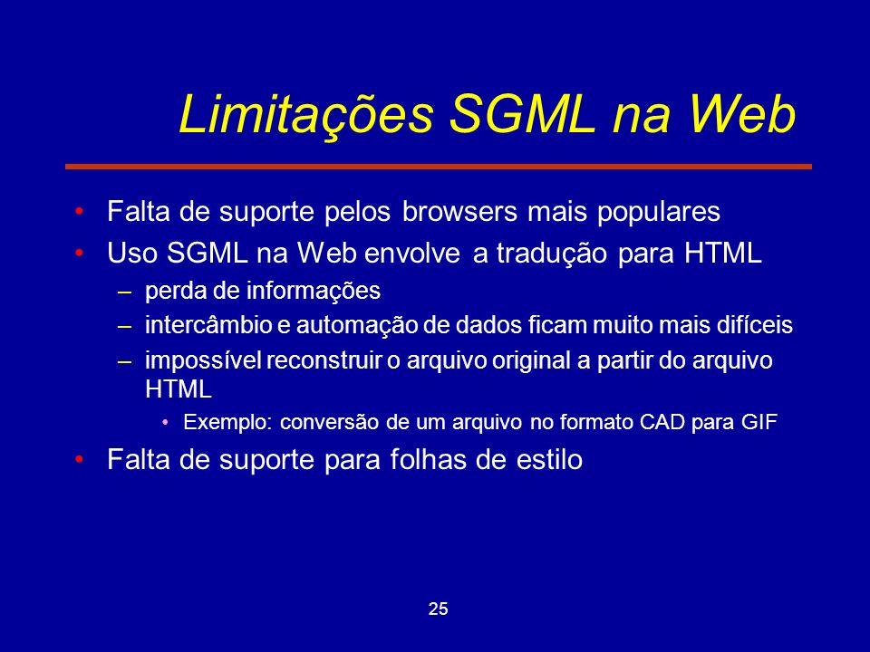 25 Limitações SGML na Web Falta de suporte pelos browsers mais populares Uso SGML na Web envolve a tradução para HTML –perda de informações –intercâmbio e automação de dados ficam muito mais difíceis –impossível reconstruir o arquivo original a partir do arquivo HTML Exemplo: conversão de um arquivo no formato CAD para GIF Falta de suporte para folhas de estilo