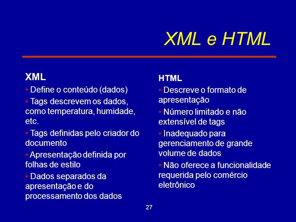27 XML e HTML XML Define o conteúdo (dados) Tags descrevem os dados, como temperatura, humidade, etc.