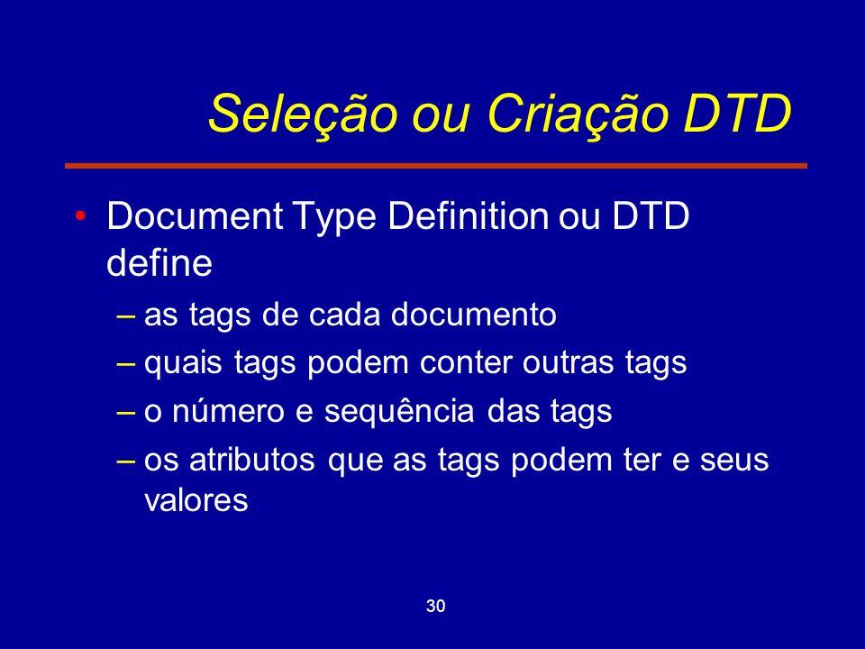 30 Seleção ou Criação DTD Document Type Definition ou DTD define –as tags de cada documento –quais tags podem conter outras tags –o número e sequência das tags –os atributos que as tags podem ter e seus valores