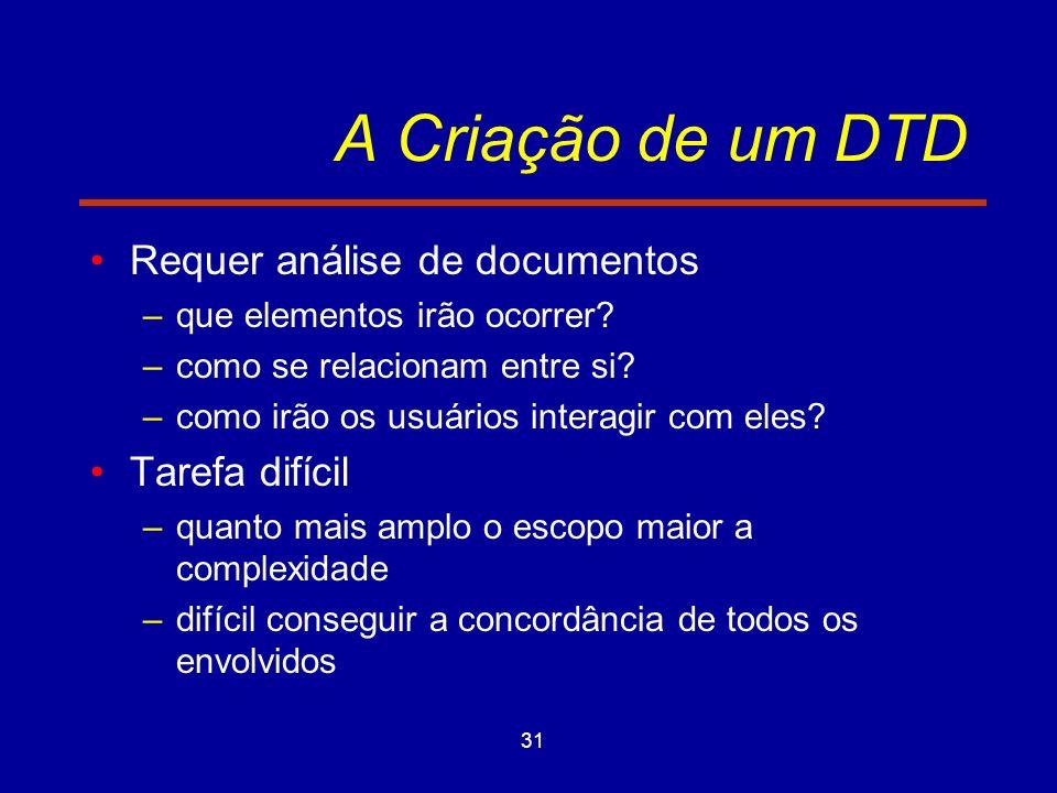 31 A Criação de um DTD Requer análise de documentos –que elementos irão ocorrer.