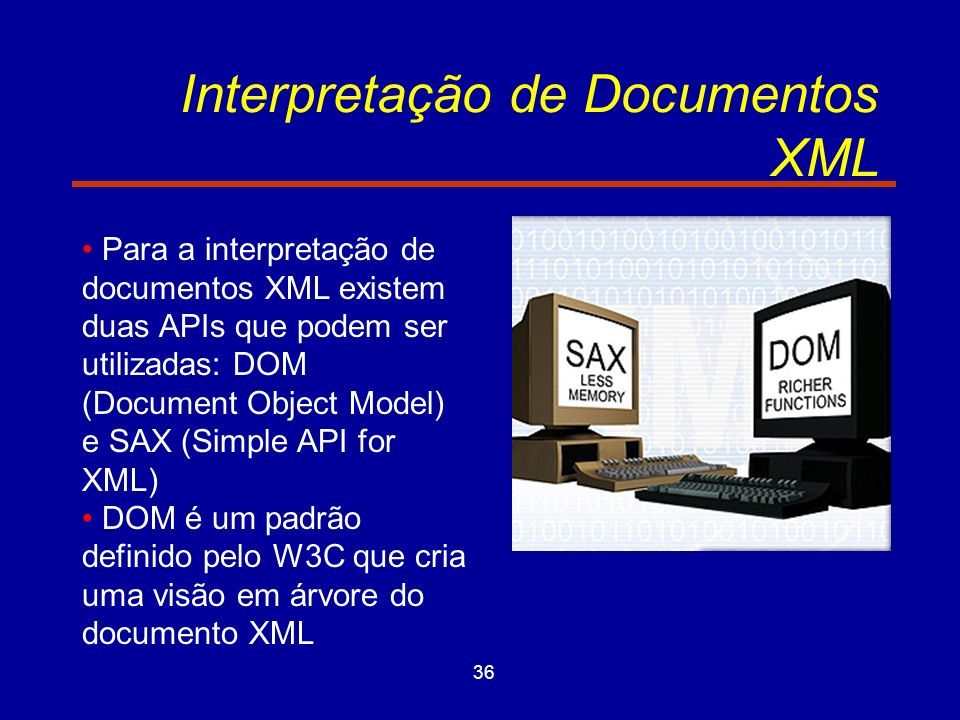 36 Interpretação de Documentos XML Para a interpretação de documentos XML existem duas APIs que podem ser utilizadas: DOM (Document Object Model) e SAX (Simple API for XML) DOM é um padrão definido pelo W3C que cria uma visão em árvore do documento XML