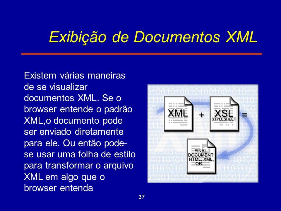 37 Exibição de Documentos XML Existem várias maneiras de se visualizar documentos XML.
