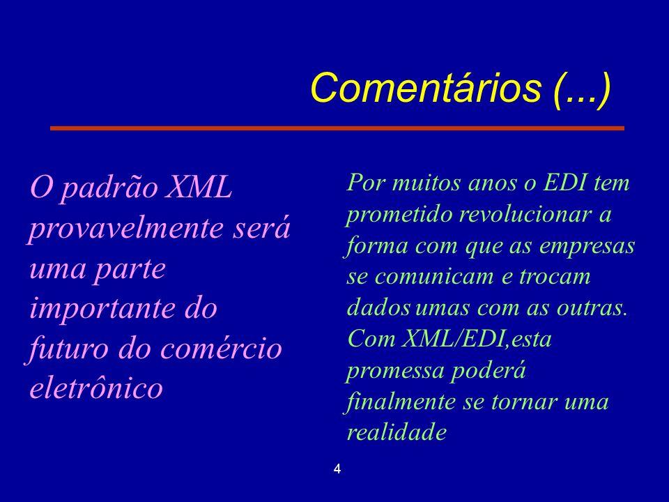 4 Comentários (...) O padrão XML provavelmente será uma parte importante do futuro do comércio eletrônico Por muitos anos o EDI tem prometido revolucionar a forma com que as empresas se comunicam e trocam dados umas com as outras.