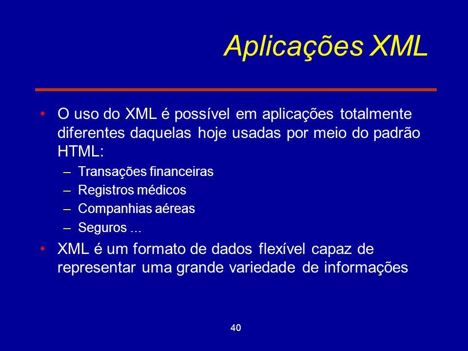 40 Aplicações XML O uso do XML é possível em aplicações totalmente diferentes daquelas hoje usadas por meio do padrão HTML: –Transações financeiras –Registros médicos –Companhias aéreas –Seguros...