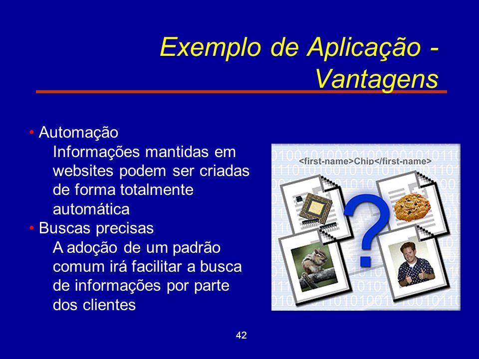 42 Exemplo de Aplicação - Vantagens Automação Informações mantidas em websites podem ser criadas de forma totalmente automática Buscas precisas A adoção de um padrão comum irá facilitar a busca de informações por parte dos clientes