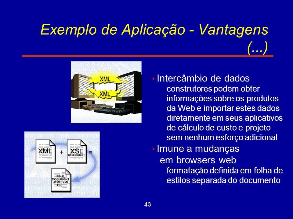 43 Exemplo de Aplicação - Vantagens (...) Intercâmbio de dados construtores podem obter informações sobre os produtos da Web e importar estes dados diretamente em seus aplicativos de cálculo de custo e projeto sem nenhum esforço adicional Imune a mudanças em browsers web formatação definida em folha de estilos separada do documento