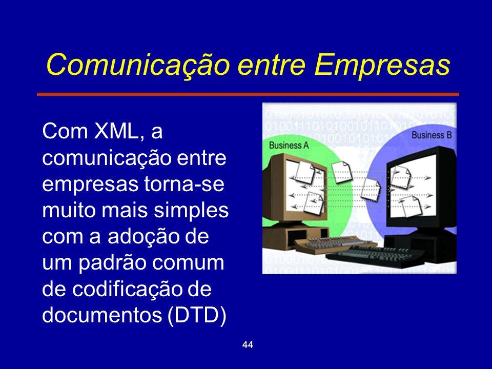 44 Comunicação entre Empresas Com XML, a comunicação entre empresas torna-se muito mais simples com a adoção de um padrão comum de codificação de documentos (DTD)