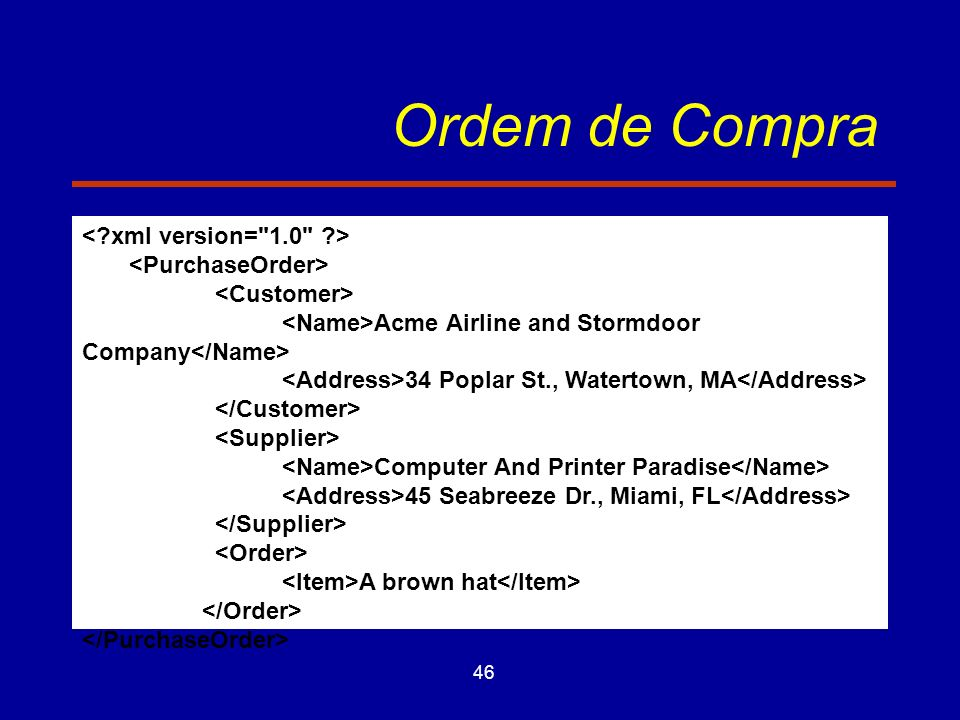 46 Ordem de Compra Acme Airline and Stormdoor Company 34 Poplar St., Watertown, MA Computer And Printer Paradise 45 Seabreeze Dr., Miami, FL A brown hat
