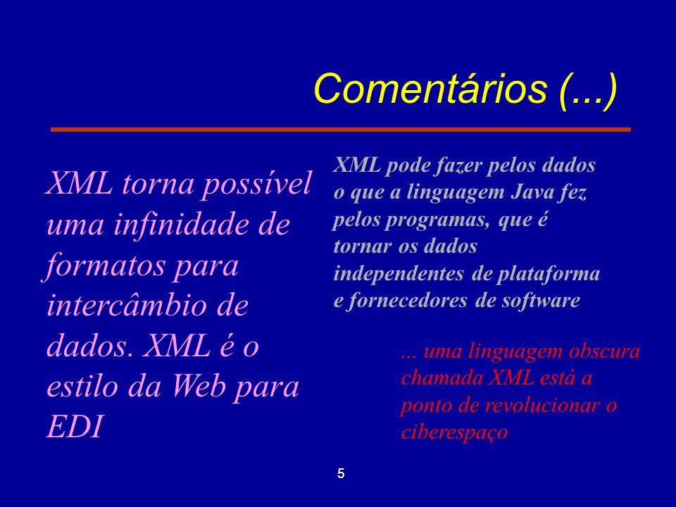 5 Comentários (...) XML torna possível uma infinidade de formatos para intercâmbio de dados.