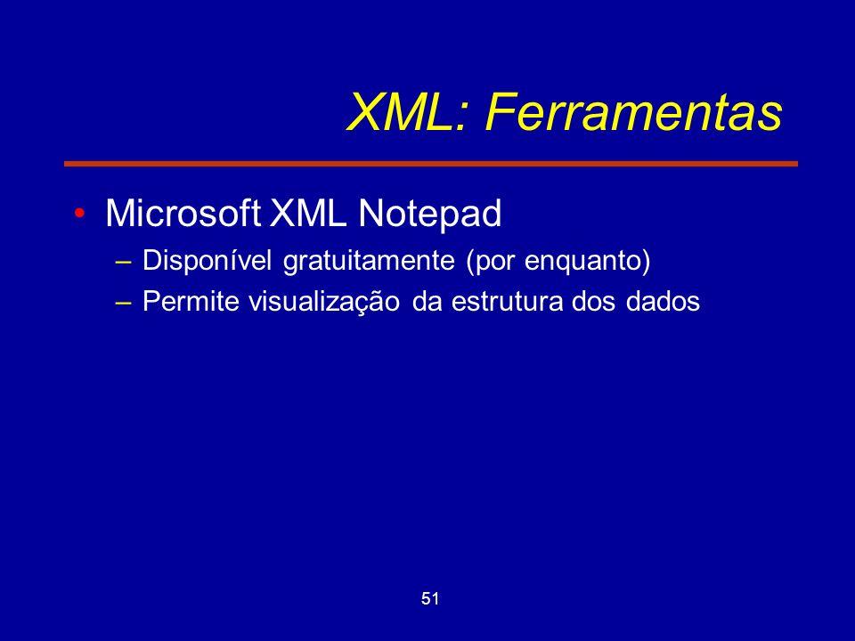 51 XML: Ferramentas Microsoft XML Notepad –Disponível gratuitamente (por enquanto) –Permite visualização da estrutura dos dados