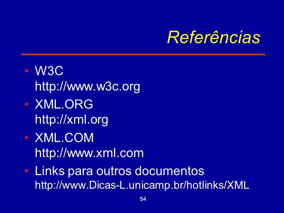54 Referências W3C http://www.w3c.org XML.ORG http://xml.org XML.COM http://www.xml.com Links para outros documentos http://www.Dicas-L.unicamp.br/hotlinks/XML
