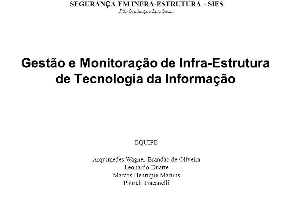 Gestão e Monitoração de Infra-Estrutura de Tecnologia da Informação EQUIPE Arquimedes Wagner Brandão de Oliveira Leonardo Duarte Marcos Henrique Marti
