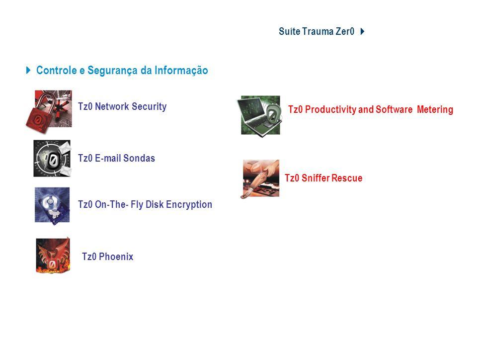 Suíte Trauma Zer0 Módulos e Soluções Tz0 E-mail Sondas Tz0 On-The- Fly Disk Encryption Tz0 Phoenix Controle e Segurança da Informação Tz0 Network Secu