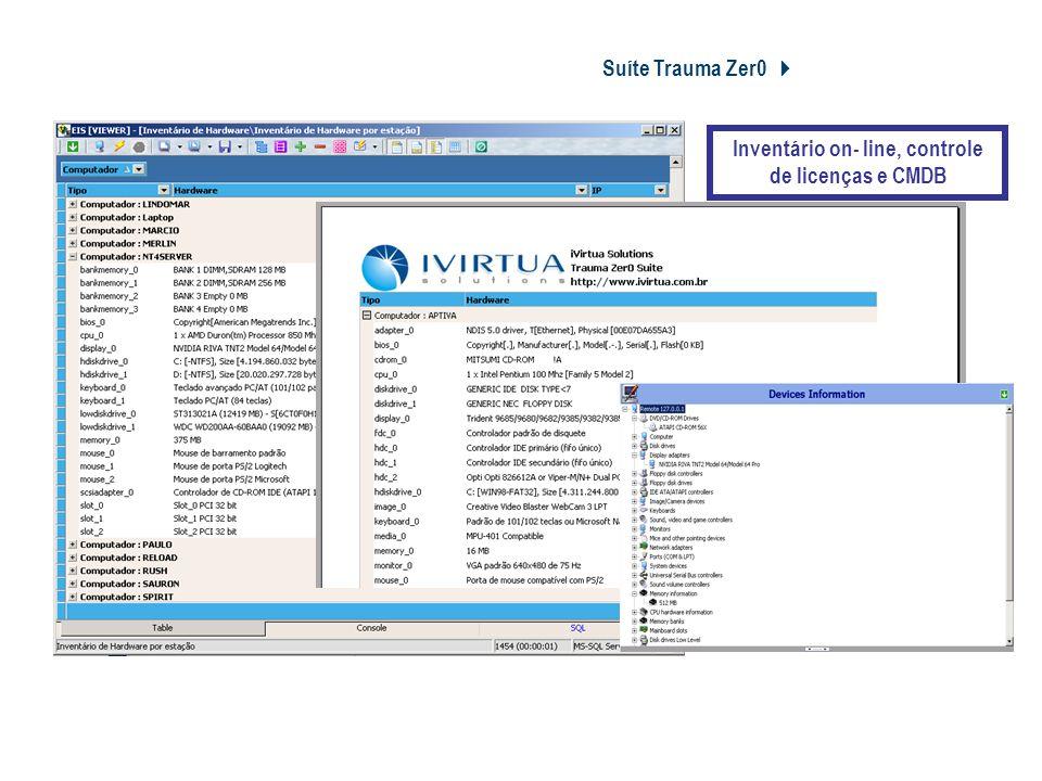 Suíte Trauma Zer0 Tz0 Asset Inventory Inventário on- line, controle de licenças e CMDB