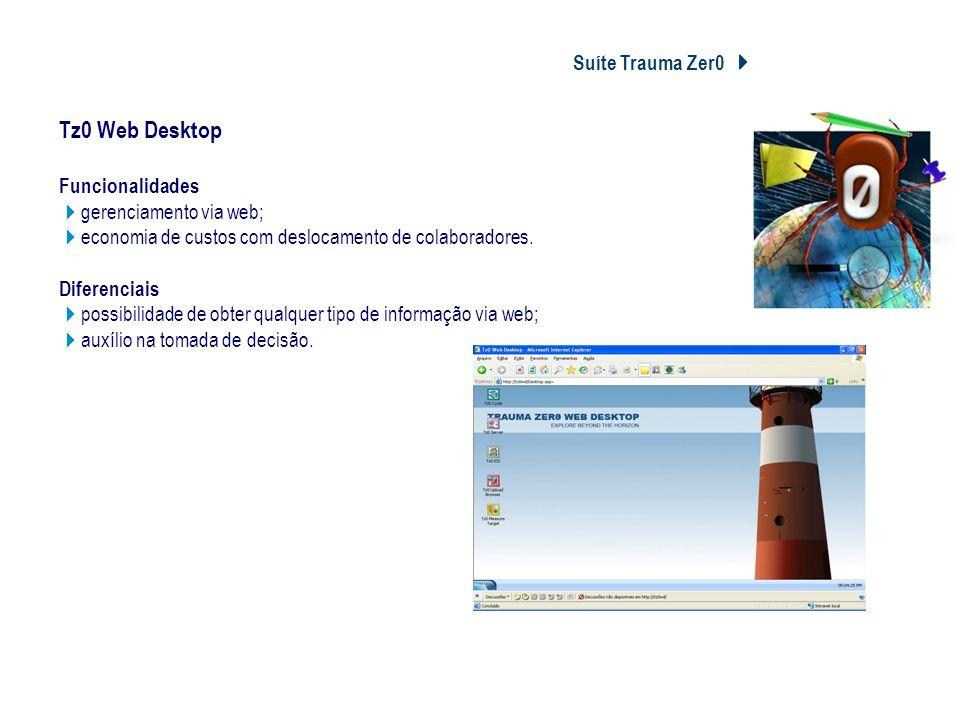 Suíte Trauma Zer0 Tz0 Web Desktop Tz0 Web Desktop Funcionalidades gerenciamento via web; economia de custos com deslocamento de colaboradores. Diferen