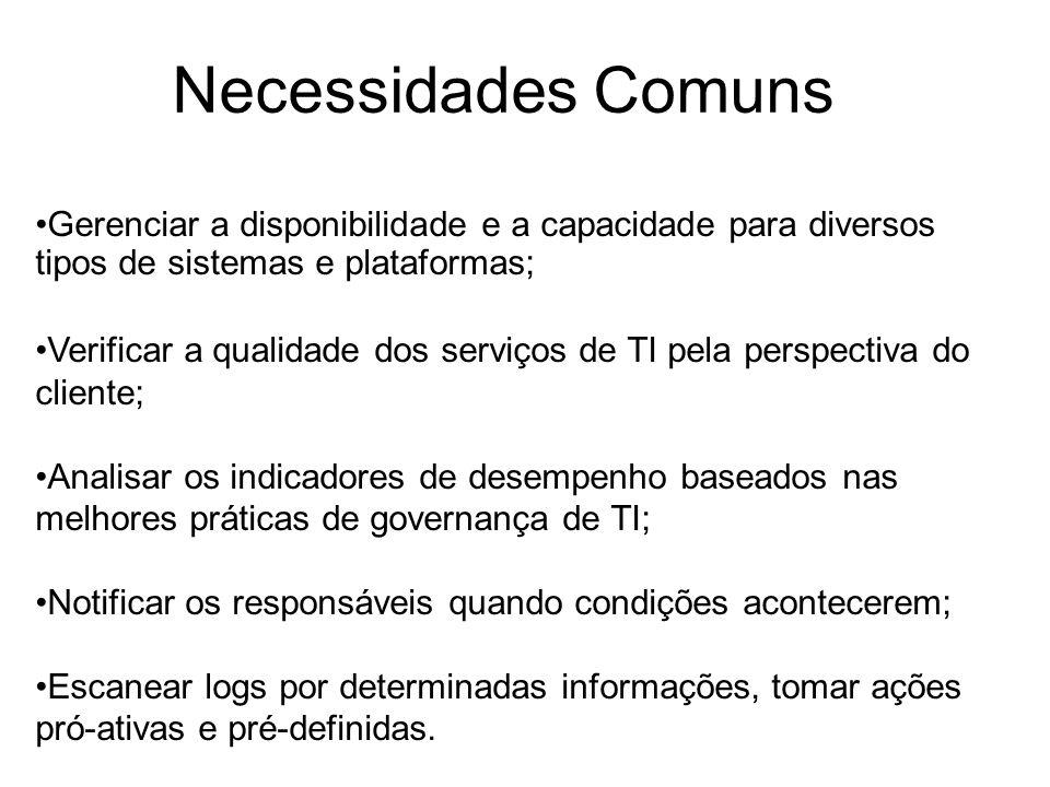 Necessidades Comuns Gerenciar a disponibilidade e a capacidade para diversos tipos de sistemas e plataformas; Verificar a qualidade dos serviços de TI