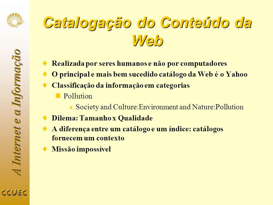 A Internet e a Informação Catalogação do Conteúdo da Web Realizada por seres humanos e não por computadores O principal e mais bem sucedido catálogo d