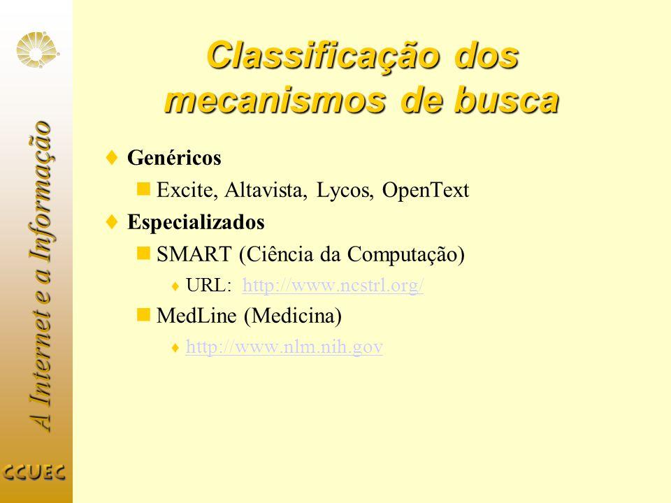 A Internet e a Informação Classificação dos mecanismos de busca Genéricos Excite, Altavista, Lycos, OpenText Especializados SMART (Ciência da Computaç