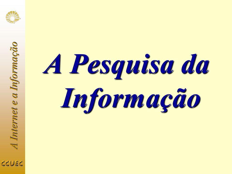 A Internet e a Informação A Pesquisa da Informação