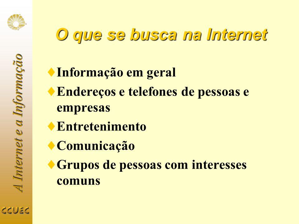 A Internet e a Informação O que se busca na Internet Informação em geral Endereços e telefones de pessoas e empresas Entretenimento Comunicação Grupos