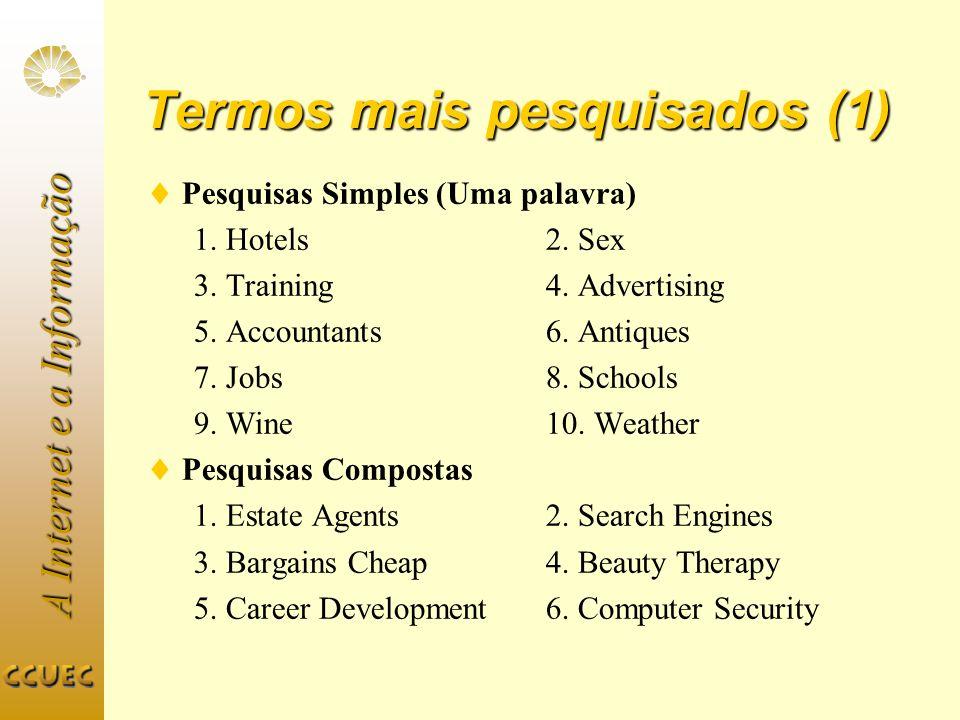 A Internet e a Informação Termos mais pesquisados (1) Pesquisas Simples (Uma palavra) 1. Hotels 2. Sex 3. Training 4. Advertising 5. Accountants 6. An