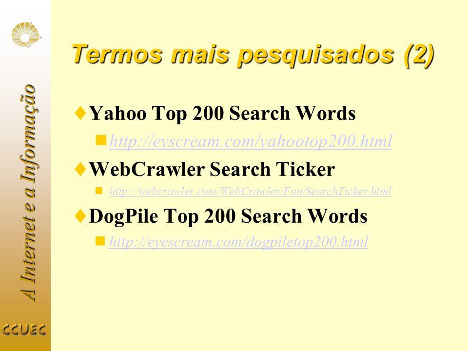 A Internet e a Informação Termos mais pesquisados (2) Yahoo Top 200 Search Words http://eyscream.com/yahootop200.html WebCrawler Search Ticker http://