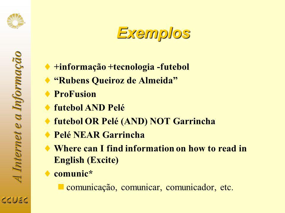 A Internet e a Informação Exemplos +informação +tecnologia -futebol Rubens Queiroz de Almeida ProFusion futebol AND Pelé futebol OR Pelé (AND) NOT Gar