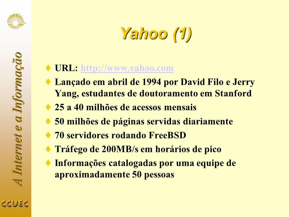 A Internet e a Informação Yahoo (1) URL: http://www.yahoo.comhttp://www.yahoo.com Lançado em abril de 1994 por David Filo e Jerry Yang, estudantes de