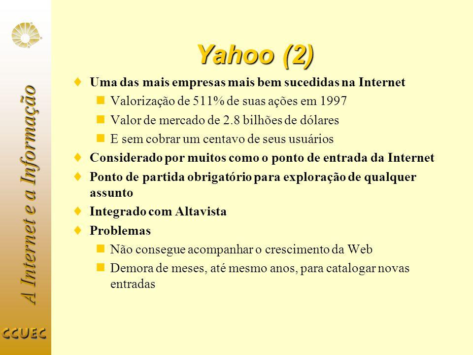 A Internet e a Informação Yahoo (2) Uma das mais empresas mais bem sucedidas na Internet Valorização de 511% de suas ações em 1997 Valor de mercado de
